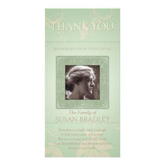 Pálido floral - la condolencia verde de la tarjetas fotograficas personalizadas