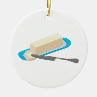 Palillo de la mantequilla adorno redondo de cerámica
