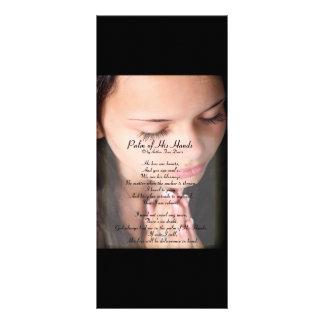 """Palma de su poema 4"""" de las manos x 9"""" Rackcard Lona Personalizada"""