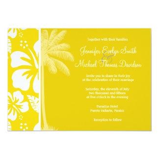 Palma tropical hawaiana amarilla de oro invitación 12,7 x 17,8 cm