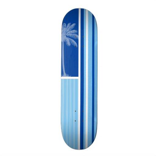 Palma tropical; Rayas azules y blancas Patineta Personalizada
