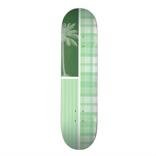 Palma tropical y tela escocesa verde clara monopatin personalizado