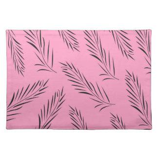Palmas handdrawn de lujo/negro con rosa salvamanteles