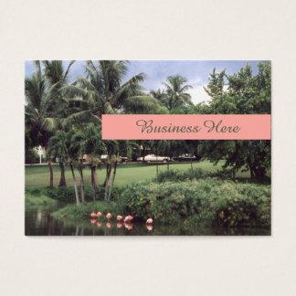 Palmas retras del tema tropical de los flamencos tarjeta de visita