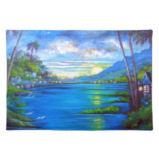 Palmas tropicales azules salvamanteles