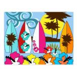 Palmera de las tablas hawaianas de la playa del oc tarjetas postales