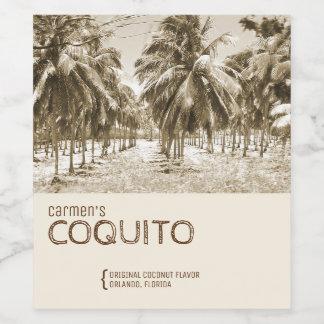 Palmera tropical del coco para el Coquito Etiqueta Para Botella De Vino