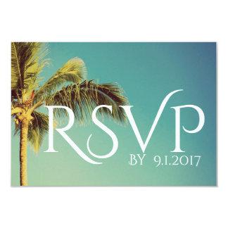 Palmera tropical que casa la tarjeta de RSVP Invitación 8,9 X 12,7 Cm