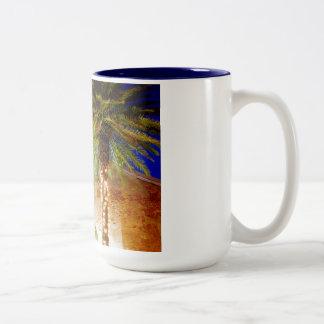 Palmeras de Key West Taza De Café De Dos Colores
