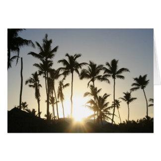 Palmeras de la salida del sol tarjeta de felicitación