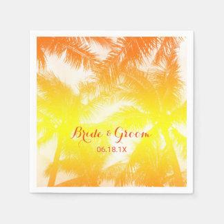 Palmeras de oro tropicales del boda de playa servilletas de papel