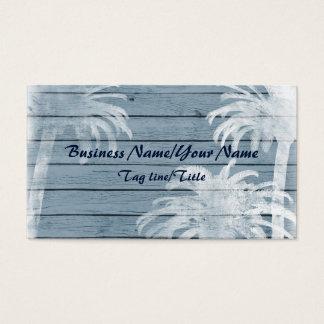 Palmeras en la playa de madera rústica del fondo tarjeta de negocios