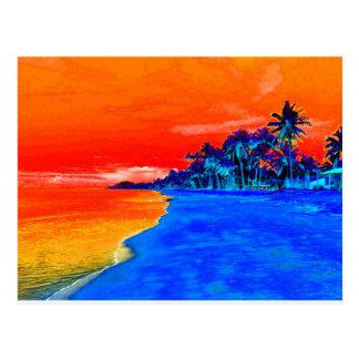 Palmeras exóticas de la playa del arte pop postal