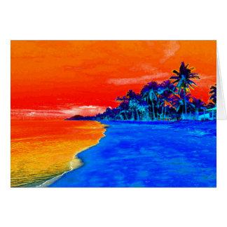 Palmeras exóticas de la playa del arte pop tarjeta de felicitación