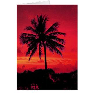 Palmeras exóticas de la puesta del sol hawaiana tarjeta de felicitación