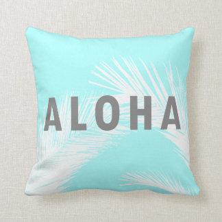 Palmeras grises de la tipografía de la hawaiana cojín decorativo