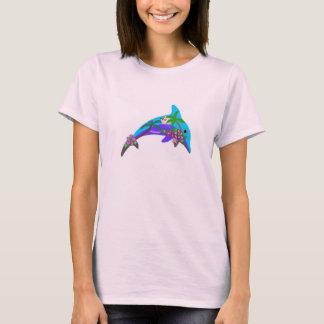 Palmeras hawaianas de la puesta del sol del camiseta
