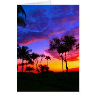 Palmeras hawaianas exóticas de la playa de la tarjeta de felicitación