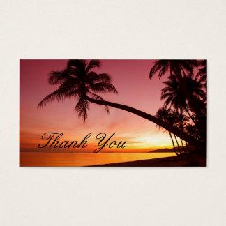 Palmeras tropicales de la puesta del sol de la tarjeta de negocios
