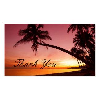 Palmeras tropicales de la puesta del sol de la tarjetas de visita