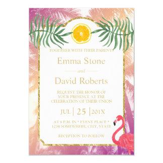 Palmeras tropicales y boda anaranjado del verano invitación 12,7 x 17,8 cm