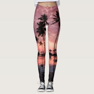 Palmeras y polainas de la puesta del sol leggings