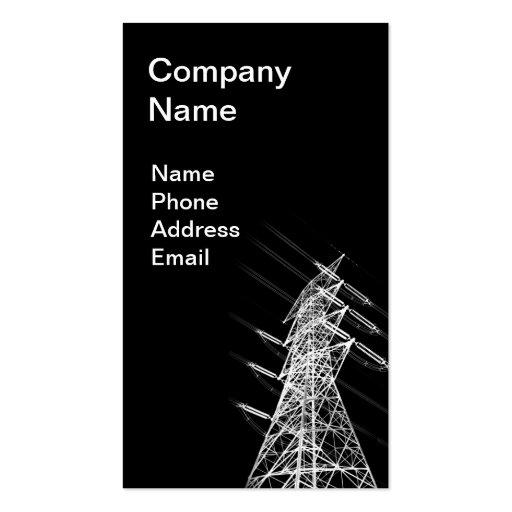 Palo de alto voltaje del poder en silueta reversa tarjetas personales