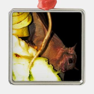 Palo de fruta 1 adorno cuadrado plateado