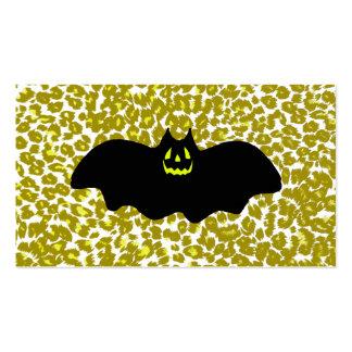 Palo de Halloween en puntos de oro del leopardo Tarjetas De Visita