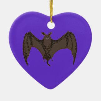Palo del vuelo adorno navideño de cerámica en forma de corazón