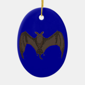 Palo del vuelo adorno navideño ovalado de cerámica