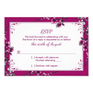 Palo floral Mitzvah RSVPCard de la flor de cerezo Invitación 8,9 X 12,7 Cm