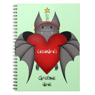 Palo gótico amoroso del navidad con el corazón roj cuadernos