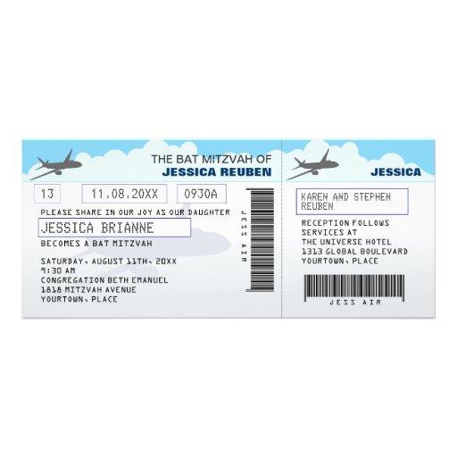 Palo Mitzvah de la barra del billete de avión Comunicado