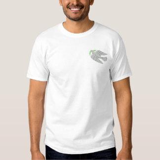 Paloma con la rama de olivo camiseta bordada