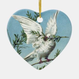 Paloma con la rama de olivo - ornamento del corazó adornos