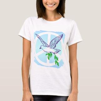 Paloma con la rama de olivo y el signo de la paz camiseta