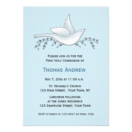 Paloma con las ramas, azul, primera comunión invitacion personalizada