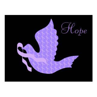 Paloma de la cinta de la lavanda de la esperanza - tarjeta postal
