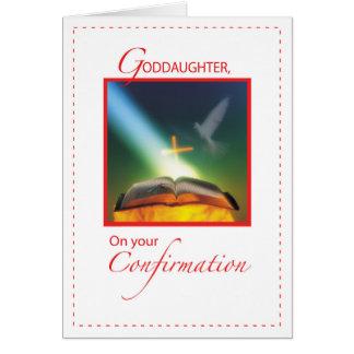 Paloma de la confirmación de la ahijada, biblia, tarjeta de felicitación
