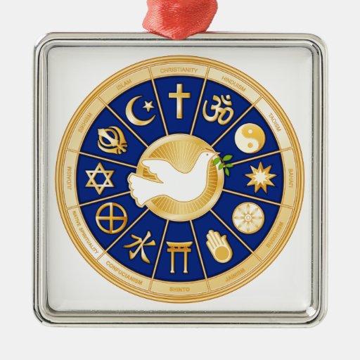 Paloma de la mandala de la paz adornos de navidad