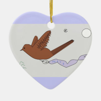 Paloma de la paz adorno de cerámica en forma de corazón