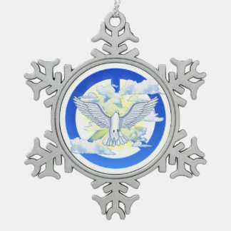 Paloma de la paz adorno de peltre en forma de copo de nieve