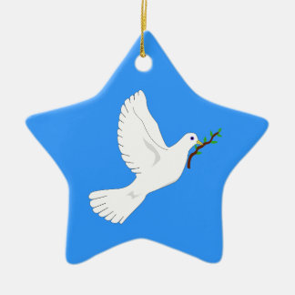 Paloma de la paz adorno de cerámica en forma de estrella