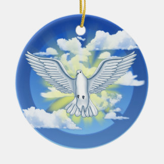 Paloma de la paz adorno redondo de cerámica