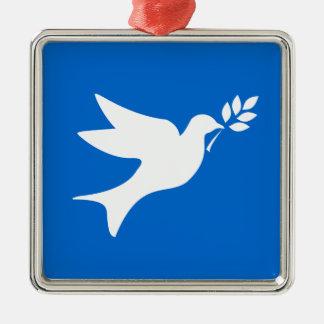 Paloma de la paz adorno cuadrado plateado