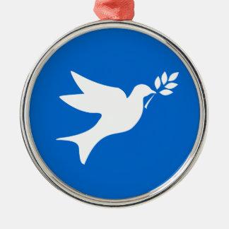 Paloma de la paz adorno redondo plateado