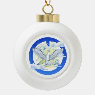 Paloma de la paz adorno de cerámica en forma de bola