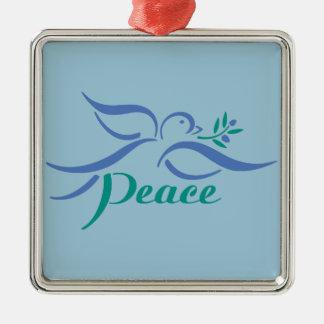 Paloma de la paz adorno navideño cuadrado de metal