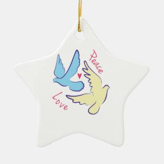 Paloma de la paz adorno navideño de cerámica en forma de estrella